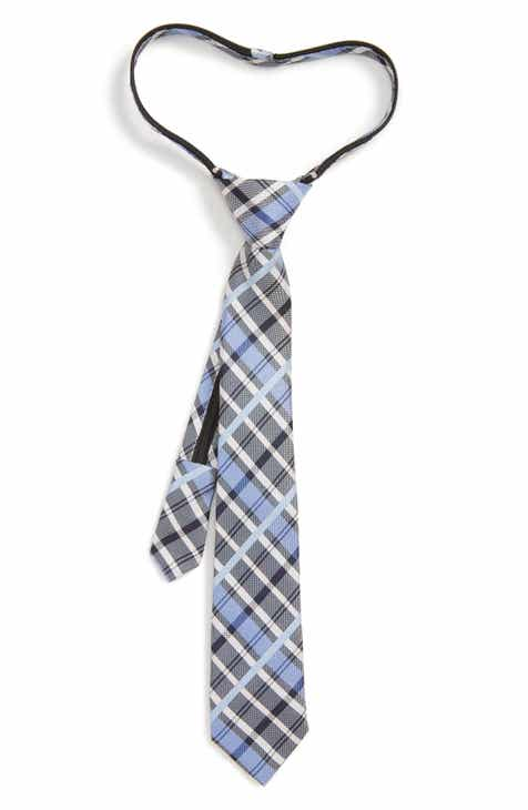 Nordstrom Zachary Plaid Silk Zip Tie (Big Boys)