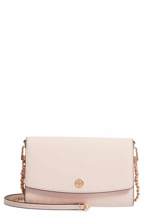 22109f1ab338 Tory Burch Robinson Leather Wallet on a Chain