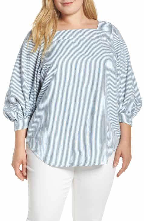 b48924887b2368 Lucky Brand Stripe Popover Top (Plus Size)