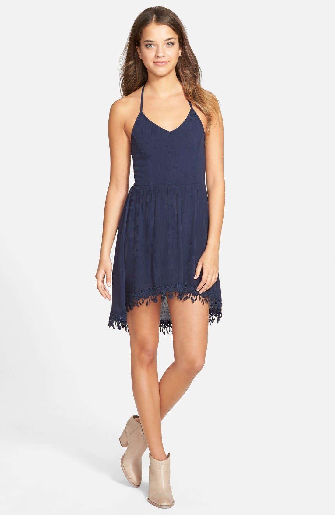 Alternate Image 1 Selected - jella c. Gauze Halter Skater Dress
