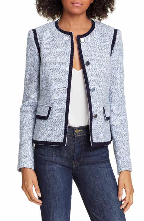 Helene Berman Braid Trim Cotton Blend Tweed Jacket by HELENE BERMAN