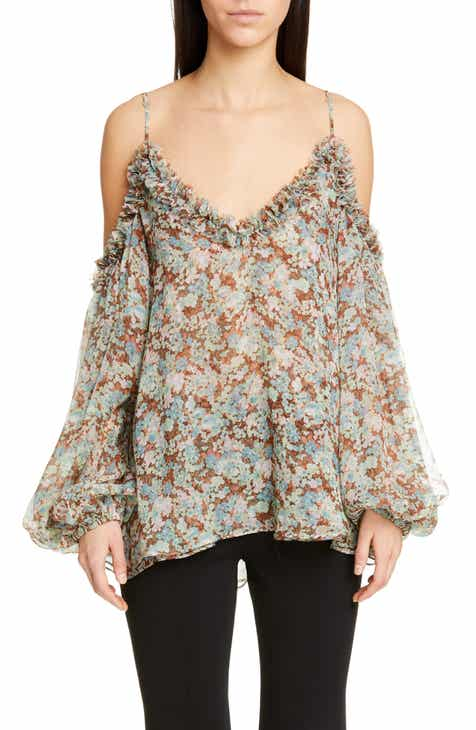 Stella McCartney Meadow Floral Print Cold Shoulder Blouse