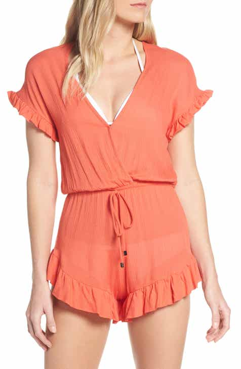 Elan Ruffle Sleeve Cover-Up Romper by ELAN