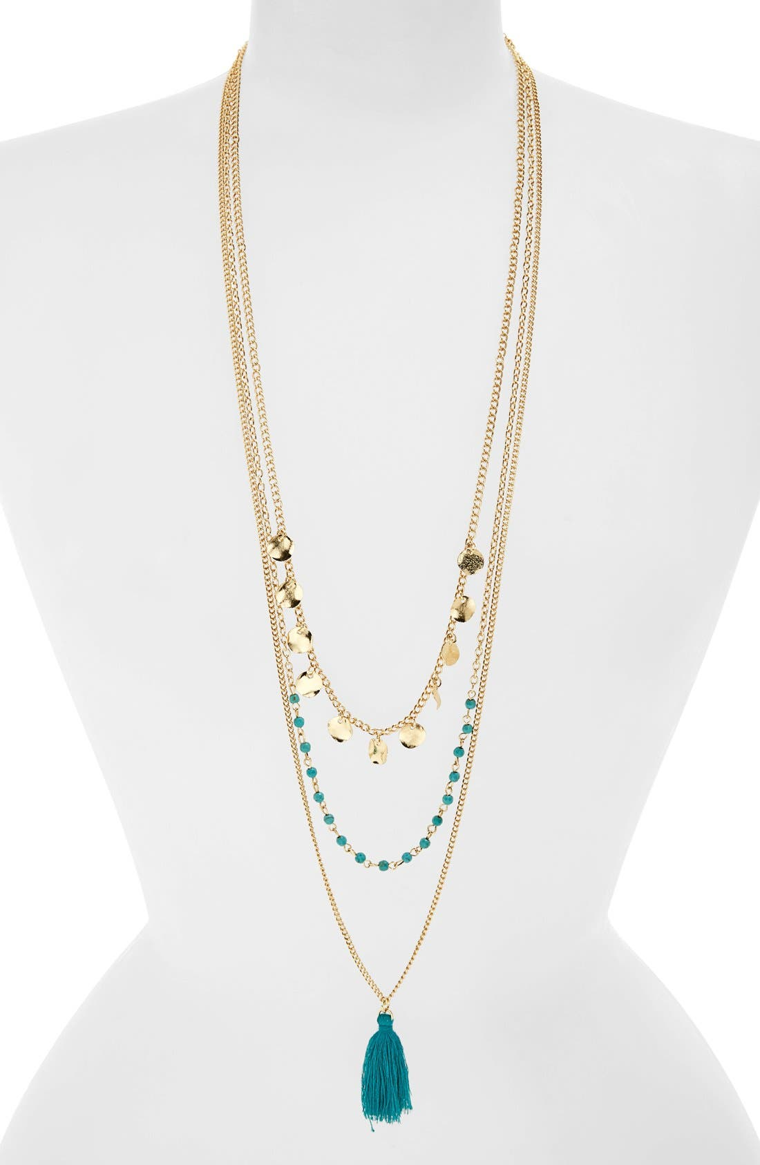 Main Image - BP. Coin Tassel Layering Necklace