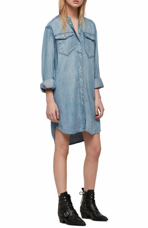 ALLSAINTS Loe Snap Front Long Sleeve Shirtdress