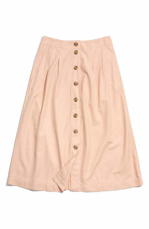 Madewell Patio Button Front Midi Skirt by MADEWELL