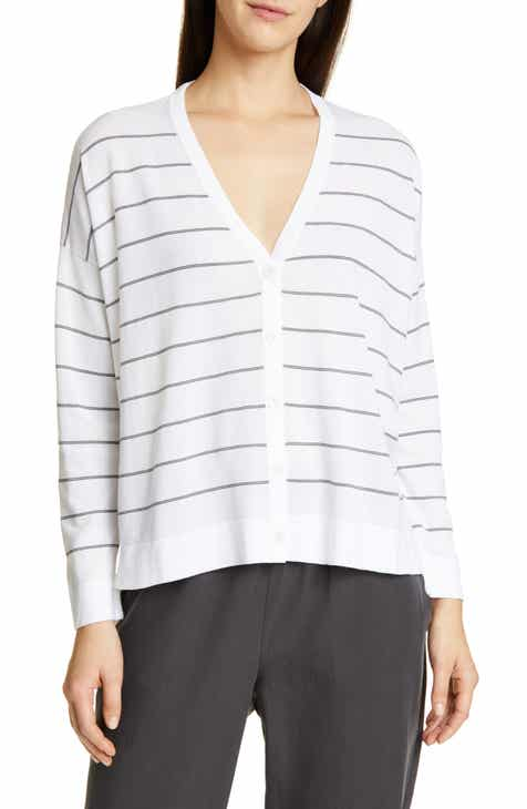 Eileen Fisher V-Neck Boxy Cardigan (Regular & Pettie) by EILEEN FISHER
