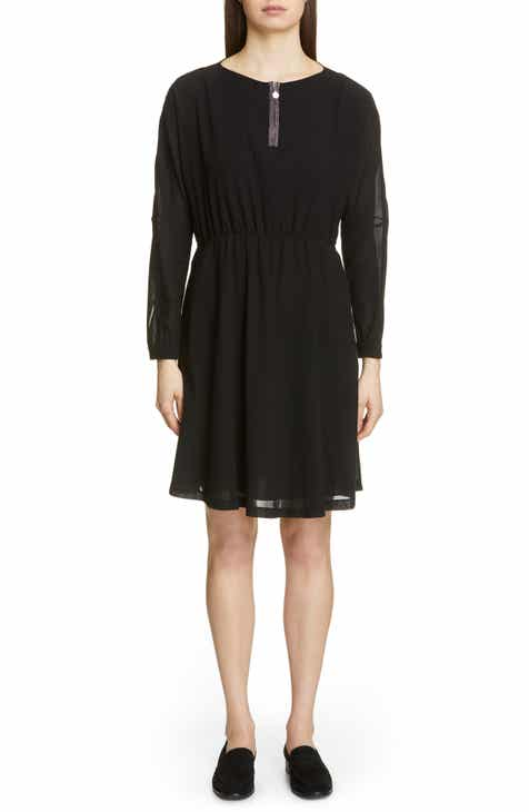 Fabiana Filippi Long Sleeve Cotton Twill A-Line Dress