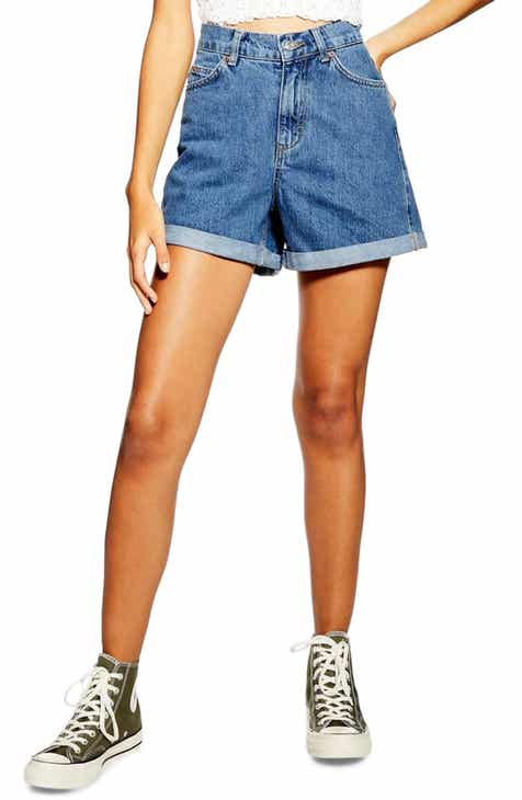 821971b6a0338 Topshop Roll Cuff Denim Mom Shorts