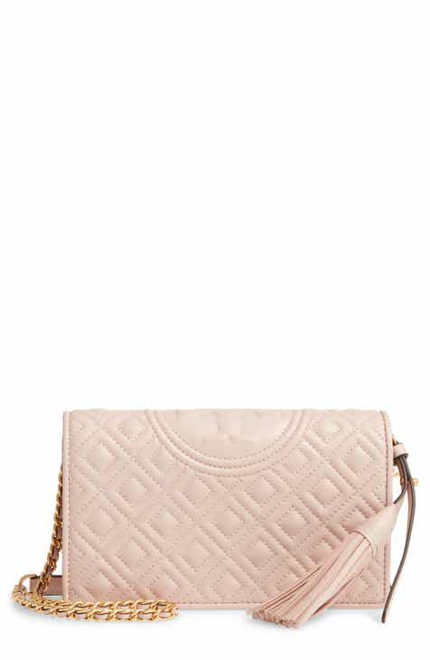 90c679602bc0 Tory Burch Fleming Lambskin Leather Crossbody Wallet.  328.00. (1). Product  Image. SHELL PINK