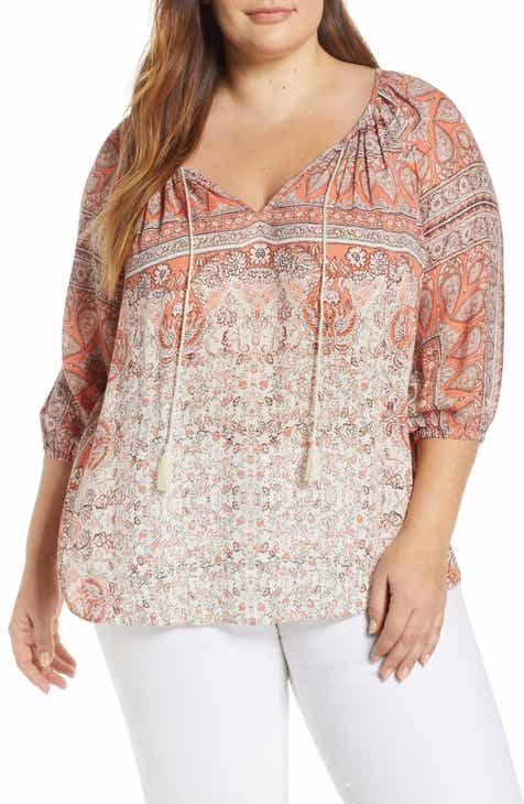 1ac35f780 Lucky Brand Kelly Print Peasant Top (Plus Size)