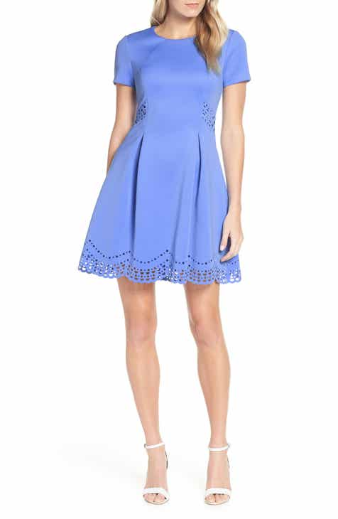 d12ab3f5134 Vince Camuto Laser Cut Scuba Crepe Fit   Flare Dress (Regular   Petite)