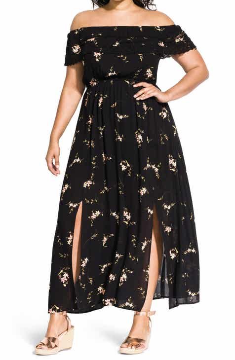 609410aa6d86 City Chic Off the Shoulder Floral Maxi Dress (Plus Size)