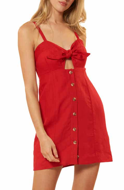 Red Carter Hannah Knotted Cover-Up Minidress