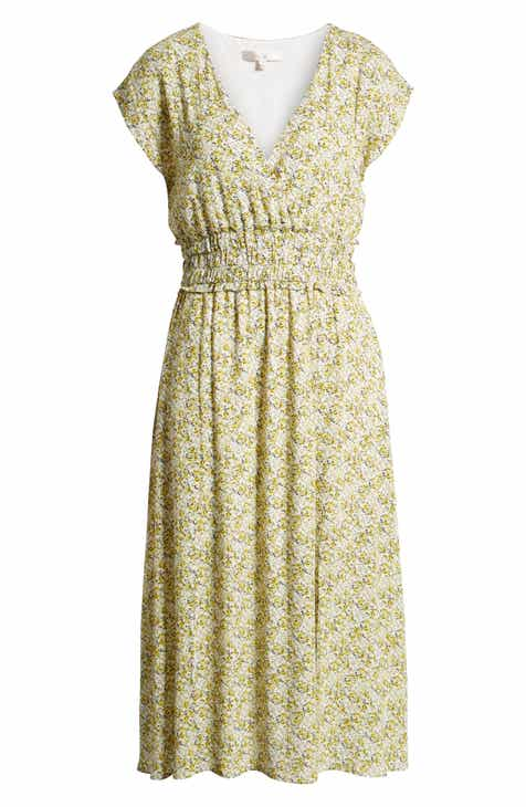 7a7d4458a24 WAYF Leanne Double Slit Smocked Midi Dress (Regular   Plus Size)