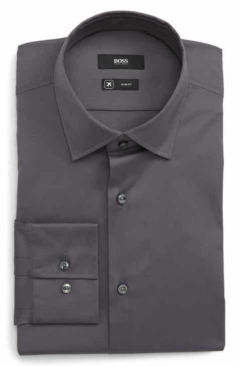 c8fe2331f88486 BOSS Slim Fit Solid Dress Shirt