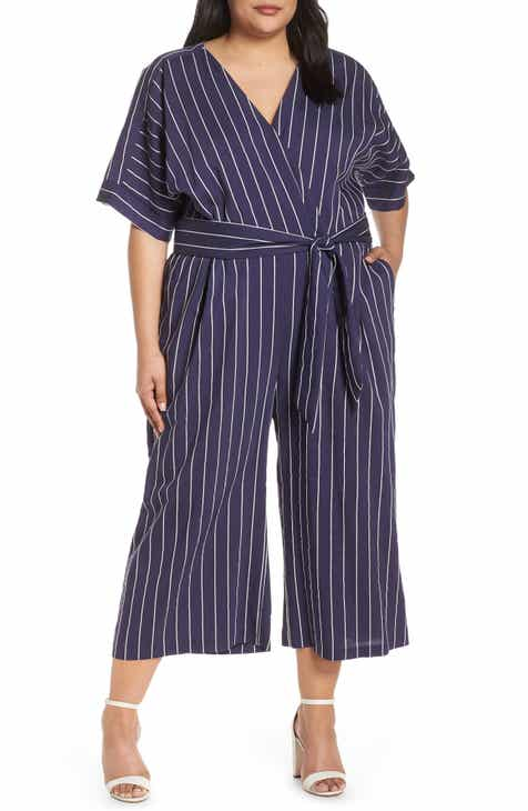 5c053113536 Chelsea28 Stripe Jumpsuit (Plus Size)