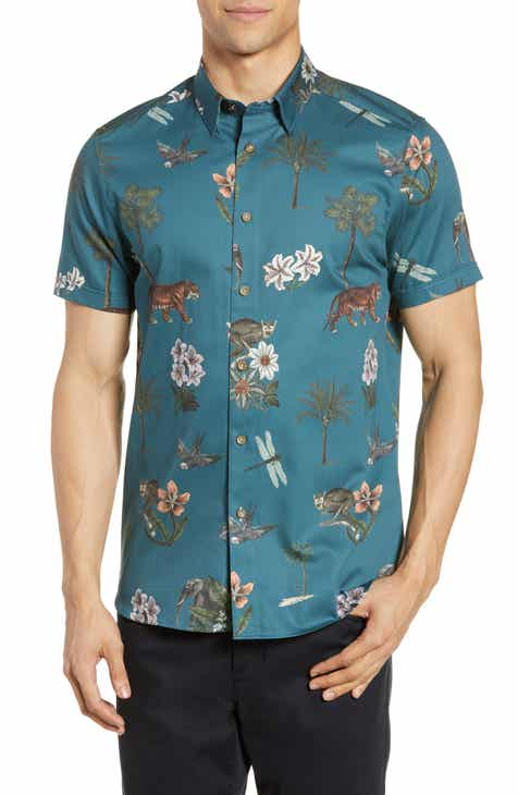 c9cf942eb10a37 Ted Baker London Group Slim Fit Animal Print Shirt