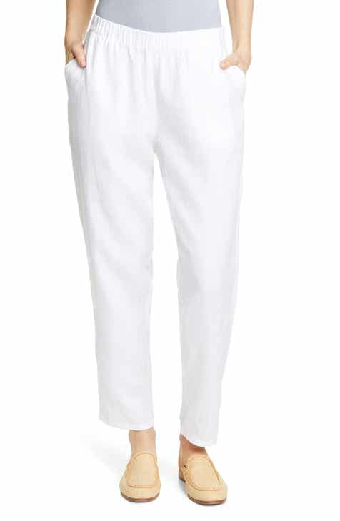 5a4a752bdd5 Eileen Fisher Tapered Linen Ankle Pants