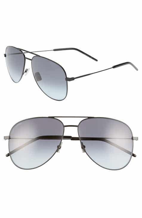 354596ad84 Saint Laurent 59mm Brow Bar Aviator Sunglasses.  380.00. Product Image.  BLUE  BLACK