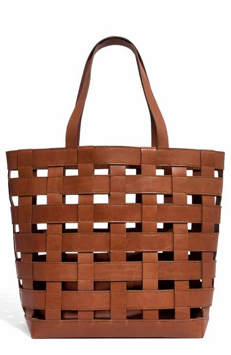 2eac123d0a Madewell Medium Transport Basketweave Leather Tote