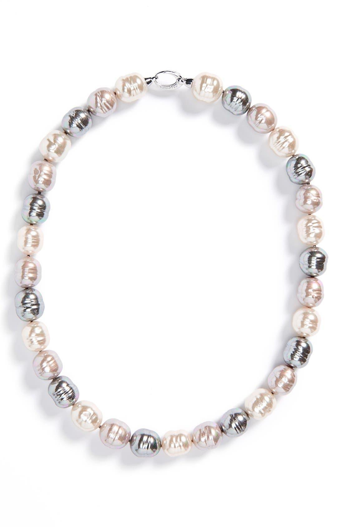 14mm Baroque Pearl Necklace,                         Main,                         color, Grey/ Silver