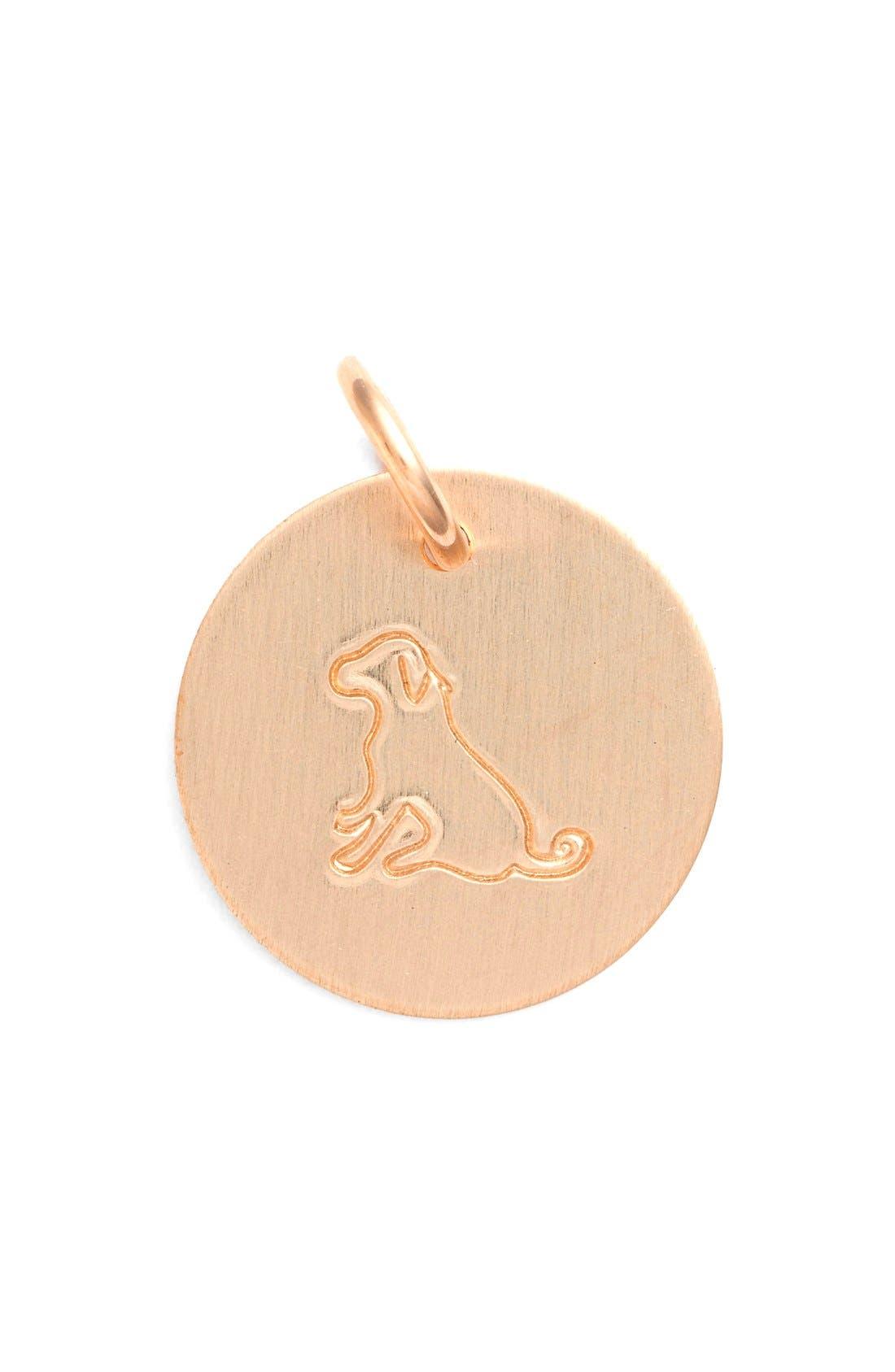 Dog Stamp Charm,                         Main,                         color, Rose Gold Dog