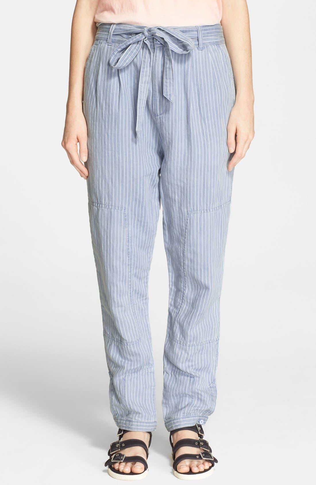 Stripe Cotton & Linen Trousers,                         Main,                         color, Pale Stripe