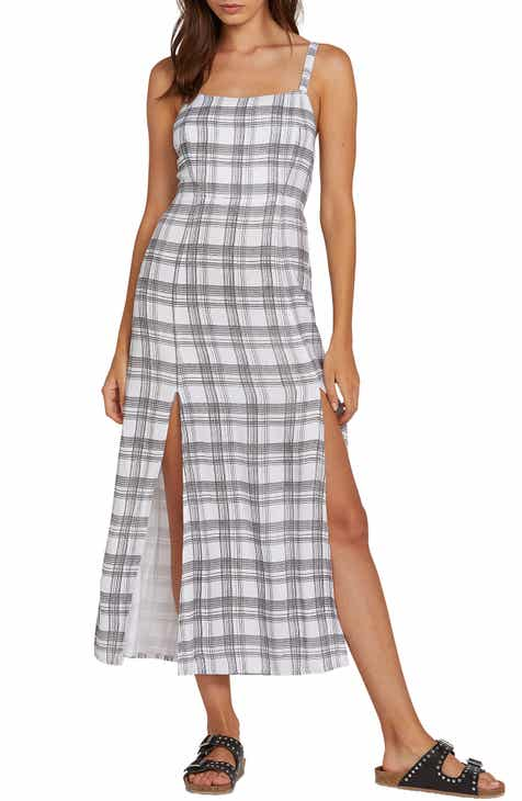 Volcom Plaid Taste Tie Back Midi Sundress