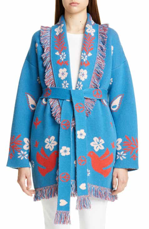 Alanui Peace & Love Belted Oversize Cashmere Blend Cardigan by ALANUI