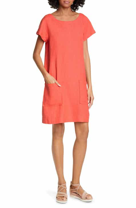 c7254b436b Eileen Fisher Bateau Neck Linen Blend Shift Dress (Regular   Petite)