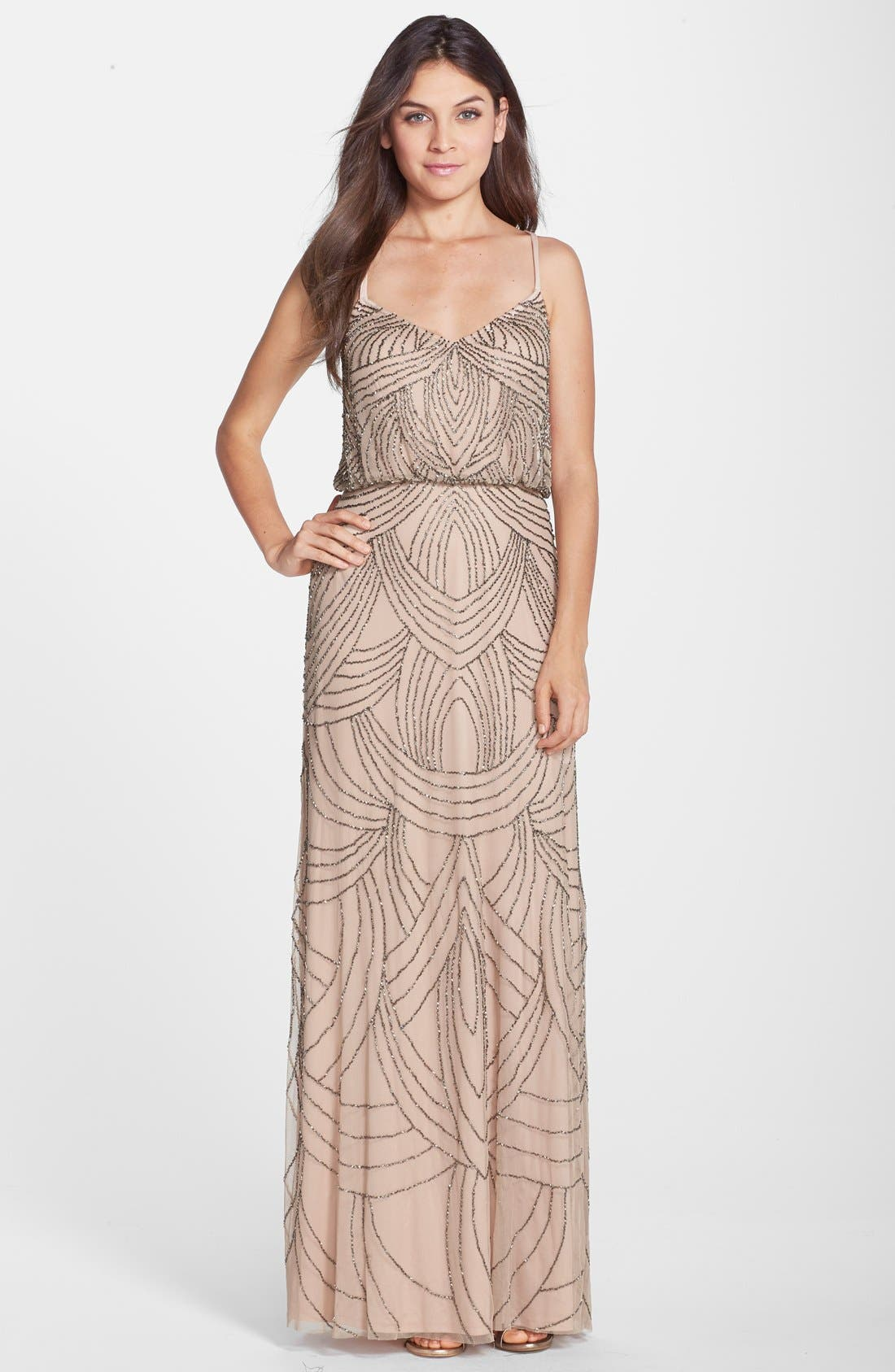Main Image - Adrianna Papell Beaded Chiffon Blouson Gown