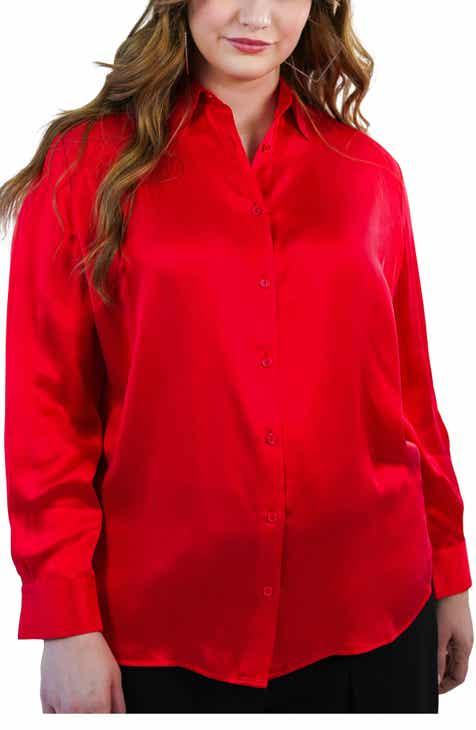 Marée Pour Toi Silk Charmeuse Blouse (Plus Size)