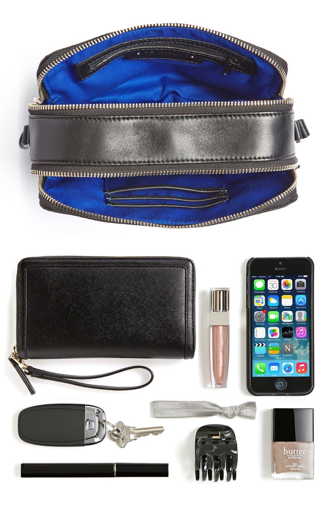 Alternate Image 7  - Halogen® Leather Double Zip Crossbody Bag