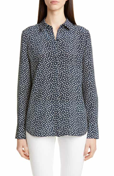 Lafayette 148 New York Scottie Mini Mesa Print Silk Shirt