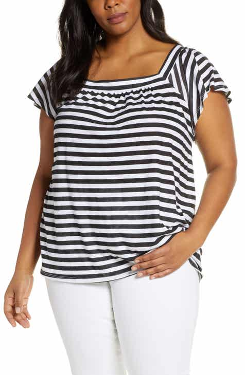 89a56221 Malta Square Neck Ruffle Sleeve Cotton Blend Tee (Plus Size)