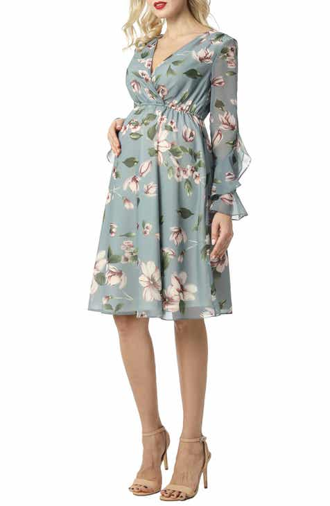 49c615b2300f Kimi and Kai Floral Print Long Sleeve Chiffon Maternity Dress