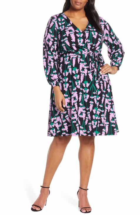 ELOQUII Print Long Sleeve Wrap Dress (Plus Size)