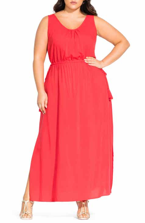 City Chic Scoop Neck Tassel Tie Maxi Dress (Plus Size)