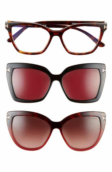 6eba34689ba6b Tom Ford 53mm Blue Light Blocking Cat Eye Glasses   Interchangeable  Sunglasses Clips Set