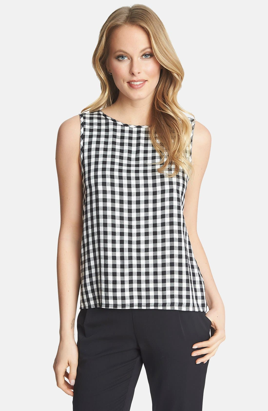 Tie Back Gingham Tank,                         Main,                         color, Rich Black
