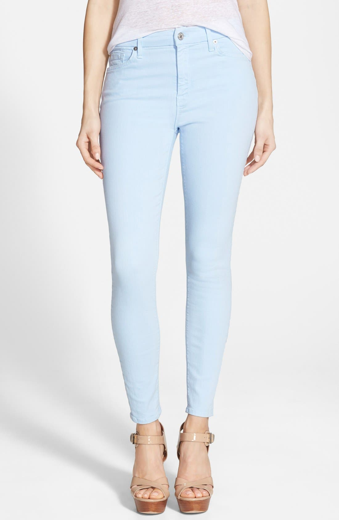 Main Image - 7 For All Mankind® High Rise Ankle Skinny Jeans (Cool Water Blue)