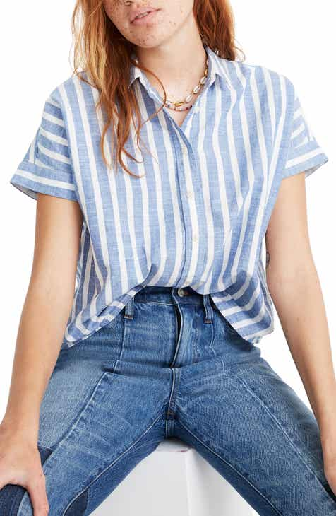 3448a08af Madewell Stripe Crop Button-Up Shirt