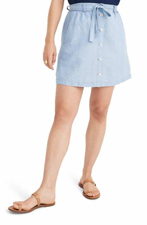 3619e888b9 Madewell Button Front Tie Chambray Miniskirt