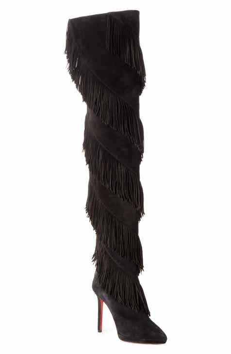 44b3331fcf3 Christian Louboutin Bolcheva Fringe Over the Knee Boot (Women)
