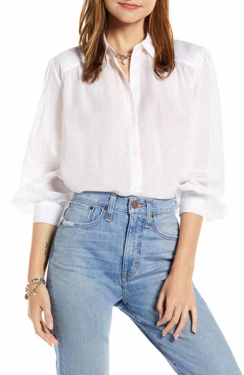 d115b531 Something Navy Sheer Button-Up Shirt (Nordstrom Exclusive)