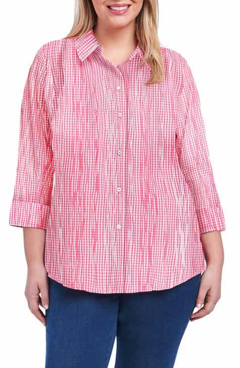 abaa193fa281 Foxcroft Sue Crinkle Mixed Gingham Shirt (Plus Size)