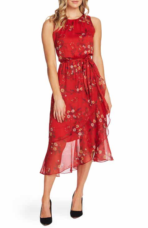399885205d053 Vince Camuto Floral Belted Ruffle Chiffon Dress