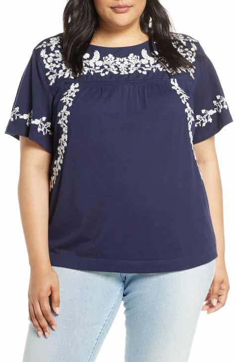 dbf63e415e6 Caslon® Embroidered Tee (Plus Size)