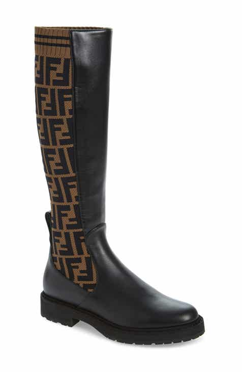 b4d9ff2ae37f Fendi Rockoko Logo Sock Knee High Boot (Women)